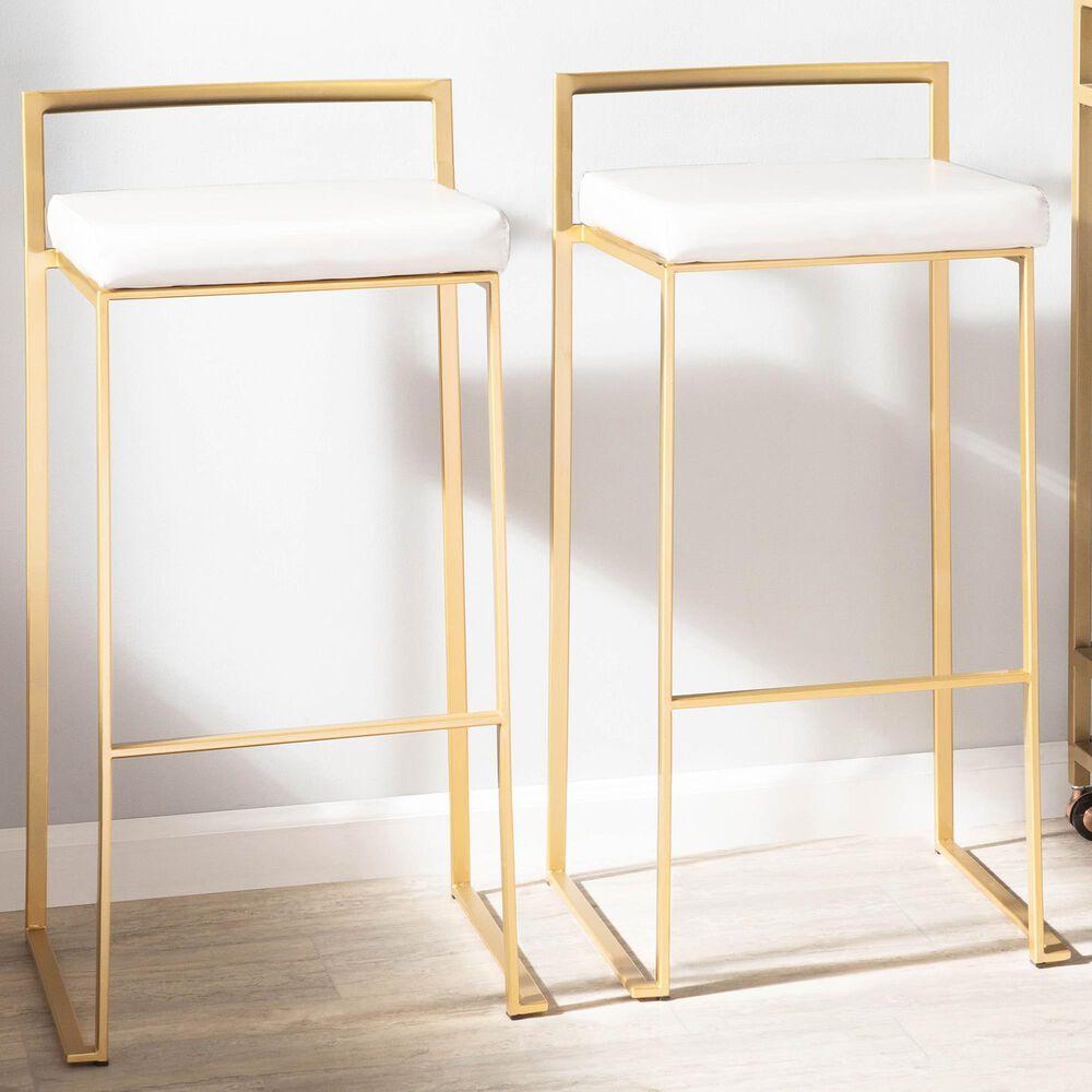 Lumisource Fuji Barstool in White/Gold (Set of 2), , large