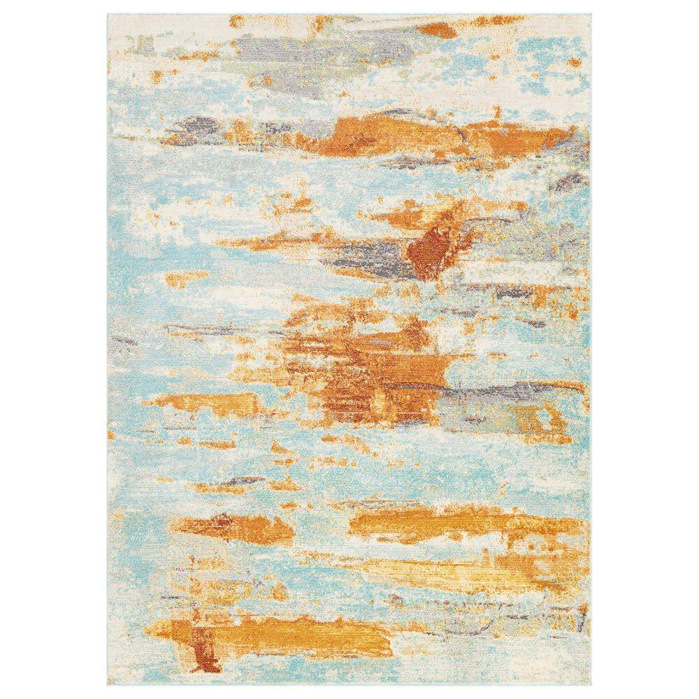 "Surya Bodrum 6"" x 9""11"" Ivory, Orange, Saffron, Gray, Camel and Blue Area Rug, , large"