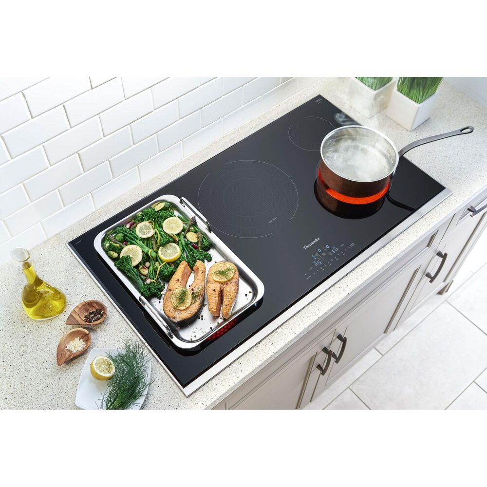 """Thermador 36"""" Masterpiece Touch Control Electric Cooktop - Black Frameless, , large"""