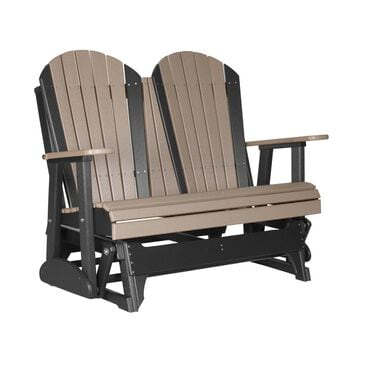 Amish Orchard 4' Adirondack Poly Glider in Weatherwood and Black, , large