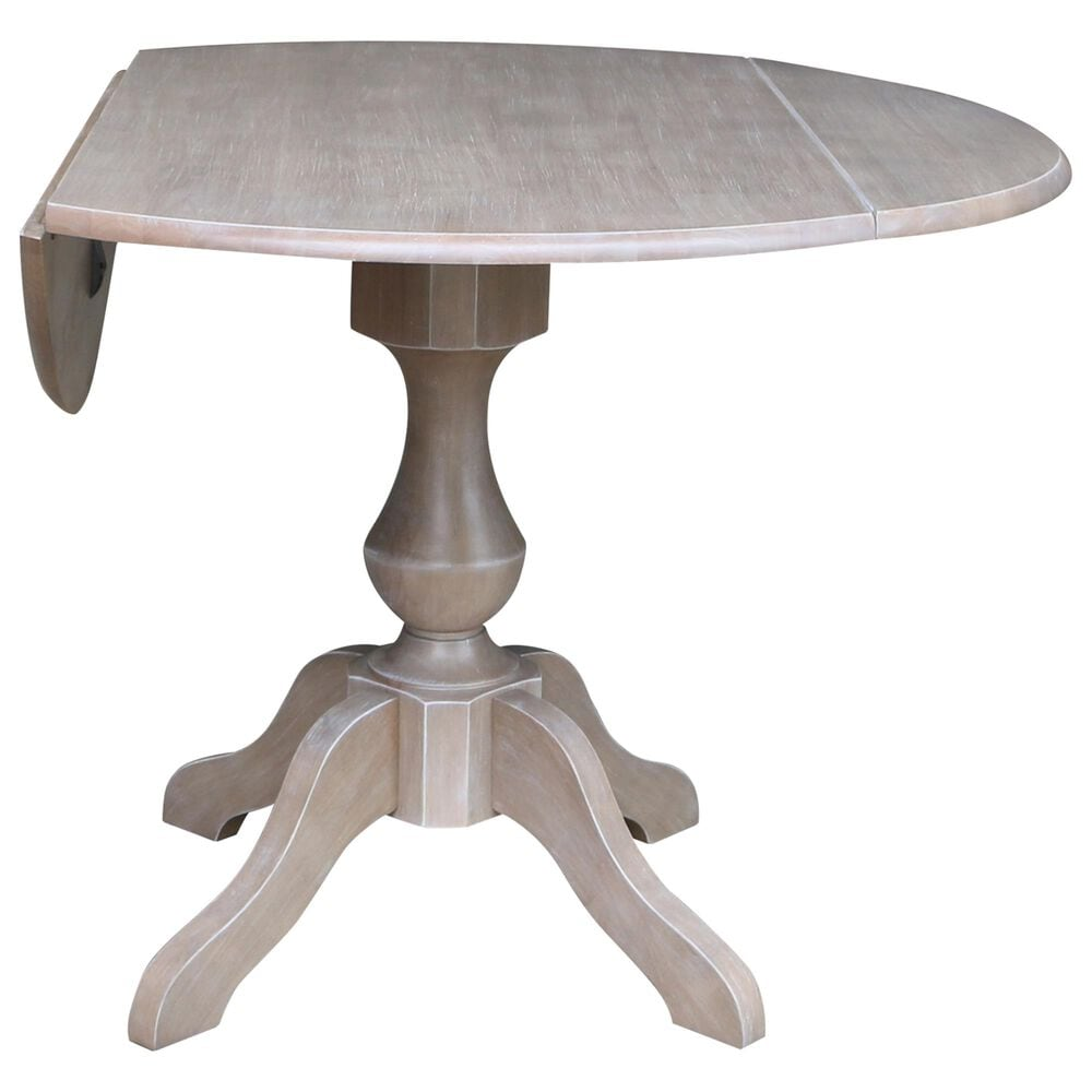 """International Concepts 42"""" Modern Farmhouse Casual Round Drop Leaf Dining Table in Washed Gray Taupe, , large"""