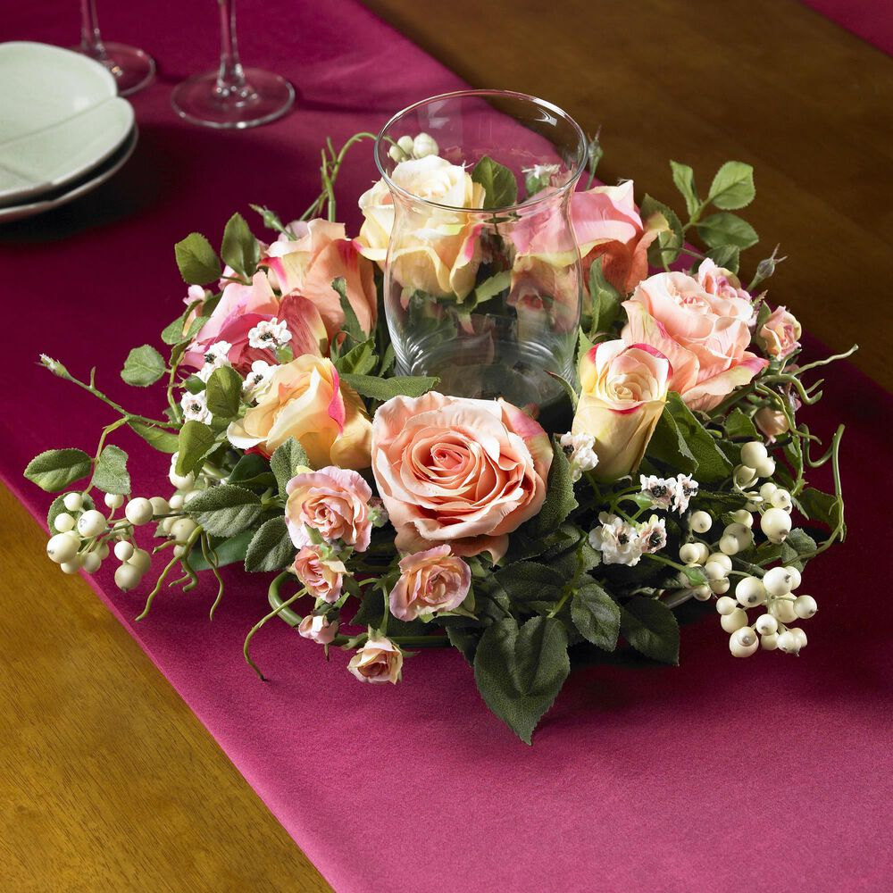 Nearly Natural Inc Rose Candelabrum Silk Flower Arrangement, , large