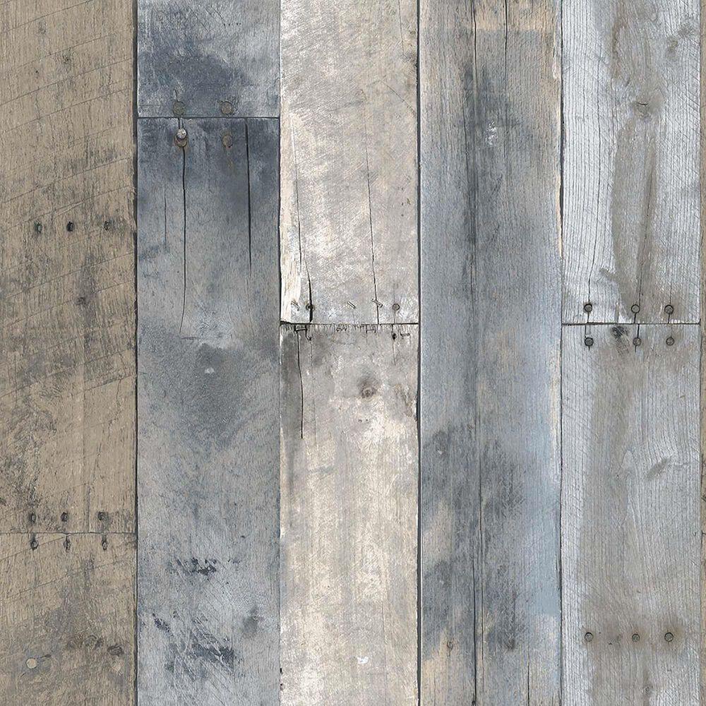 Tempaper 56 sq. ft. Repurposed Wood Multi-Color Peel and Stick Wallpaper, , large