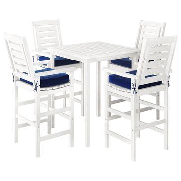 CorLiving Miramar 5-Piece Patio Bar Set in White/Navy Blue, , large