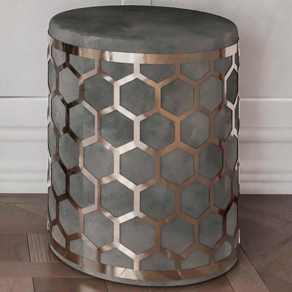 Tov Furniture Aubrey Ottoman in Grey Velvet, , large