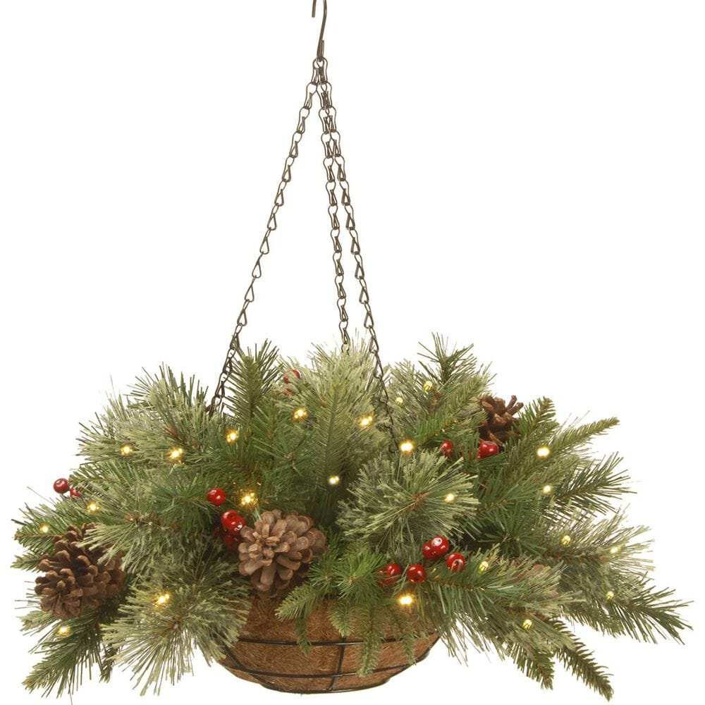 """National Tree 20"""" Colonial Hanging Basket with Battery Operated Warm White LED Lights, , large"""