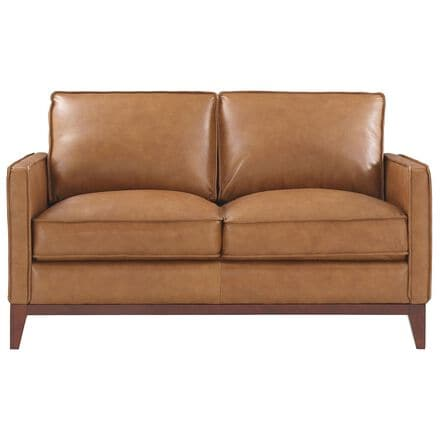 Italiano Furniture Newport Leather Loveseat in Camel