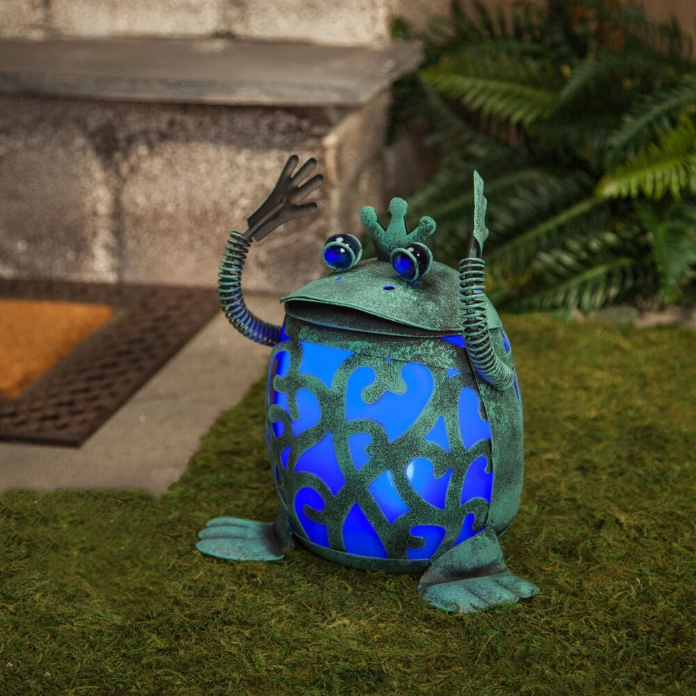 The Gerson Company Solar Roly Poly Frog in Blue and Green - Set of 2, , large