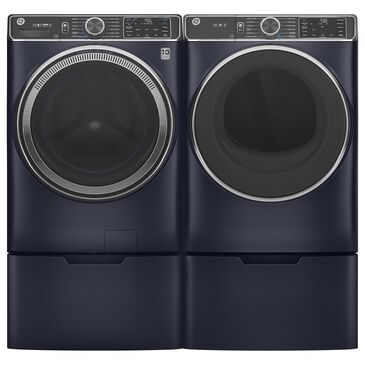 GE Appliances 5 Cu. Ft. Front Load Washer and 7.8 Cu. Ft. Electric Dryer Laundry Pair with Pedestal in Sapphire Blue, , large