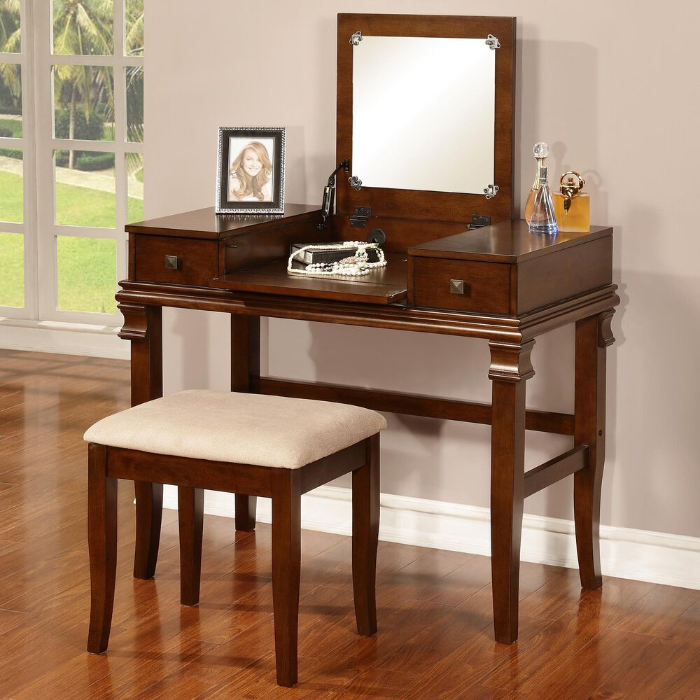 Linden Boulevard Naomi Vanity Set in Walnut, , large