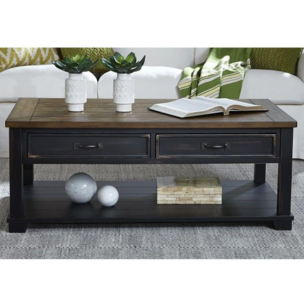 Null Large Rectangular Cocktail Table in Warm Pecan and Black, , large