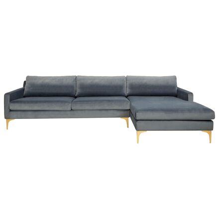 Safavieh Brayson Sectional Chaise Sofa in Dusty Blue Velvet