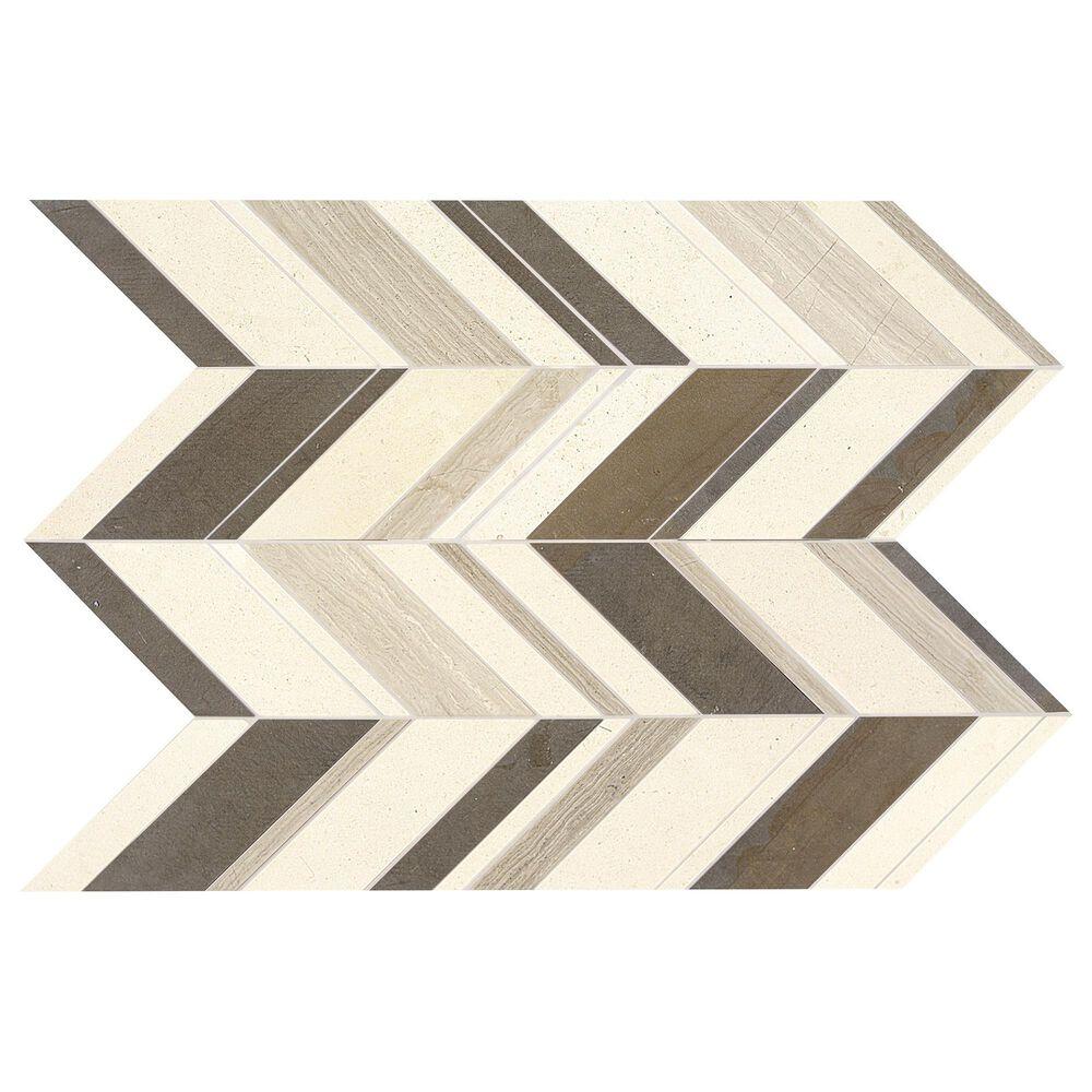 "Dal-Tile Limestone Fusion Gris 22"" x 12"" Chevron Random Honed Mosaic Sheet, , large"