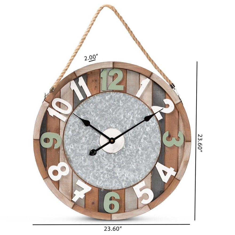 Baxton Studio Garrison Wall Clock in Brown, , large
