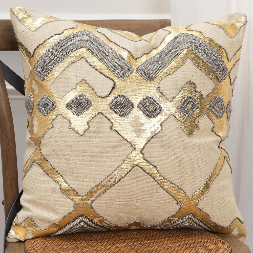"""Rizzy Home Geometric 20"""" Pillow Cover in Natural, , large"""
