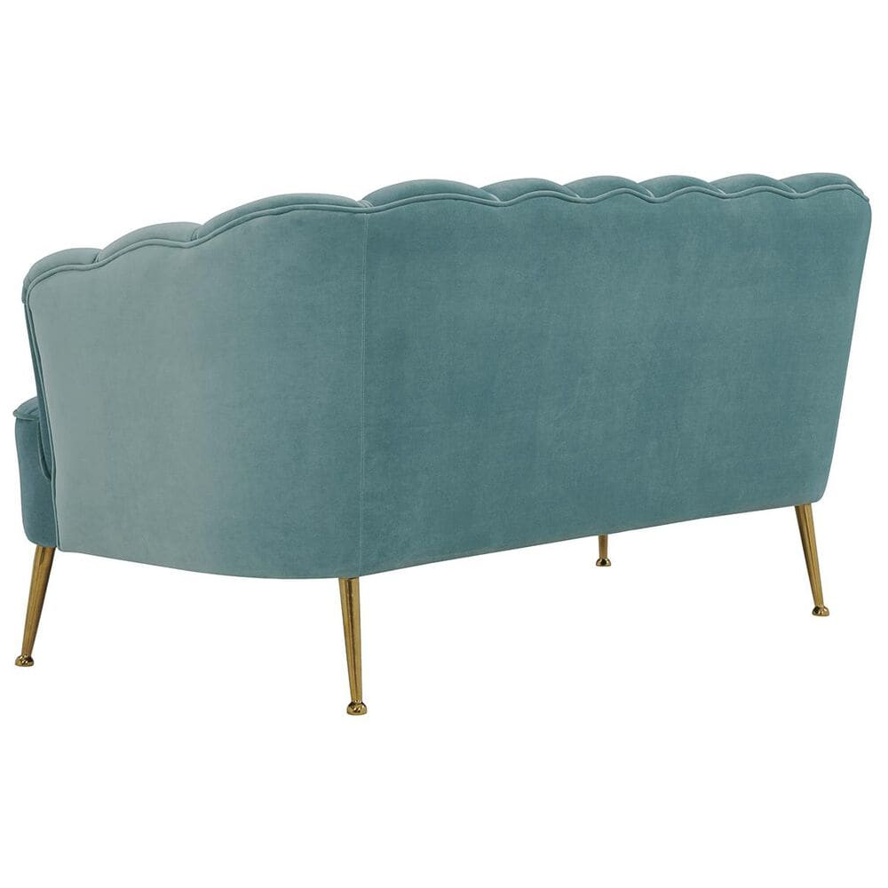 Tov Furniture Daisy Velvet Settee in Sea Blue, , large