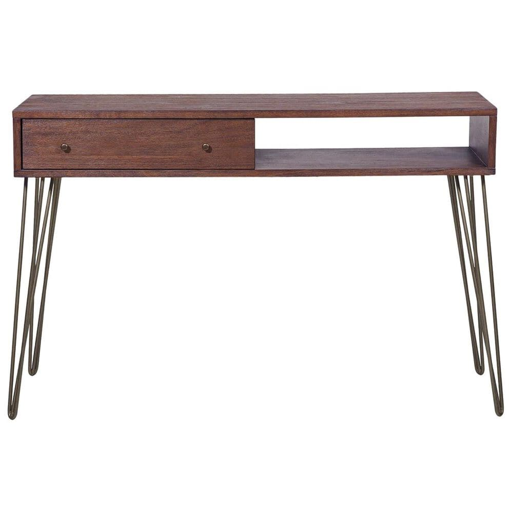 Accentric Approach Accentric Accents Benton 1-Drawer Accent Storage Console Table in Brown, , large
