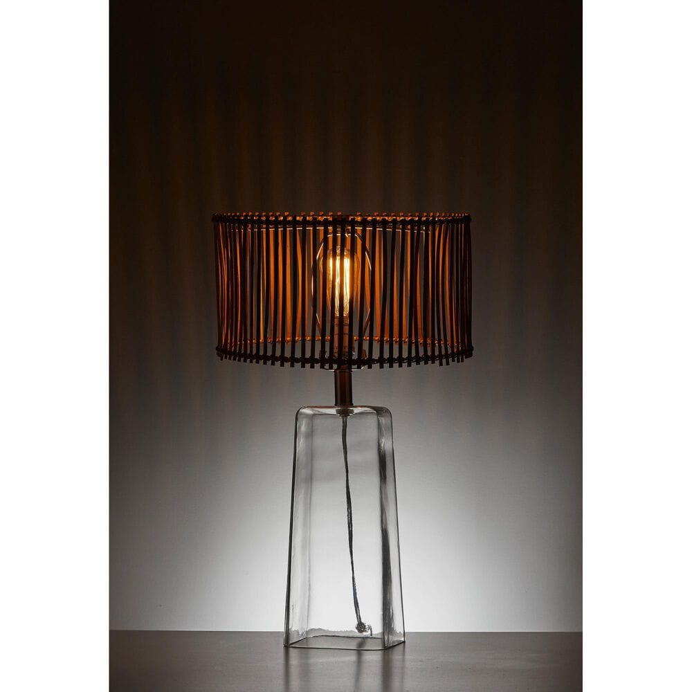 Adesso Cuba Table Lamp in Glass and Brushed Steel with Rectangle Base, , large