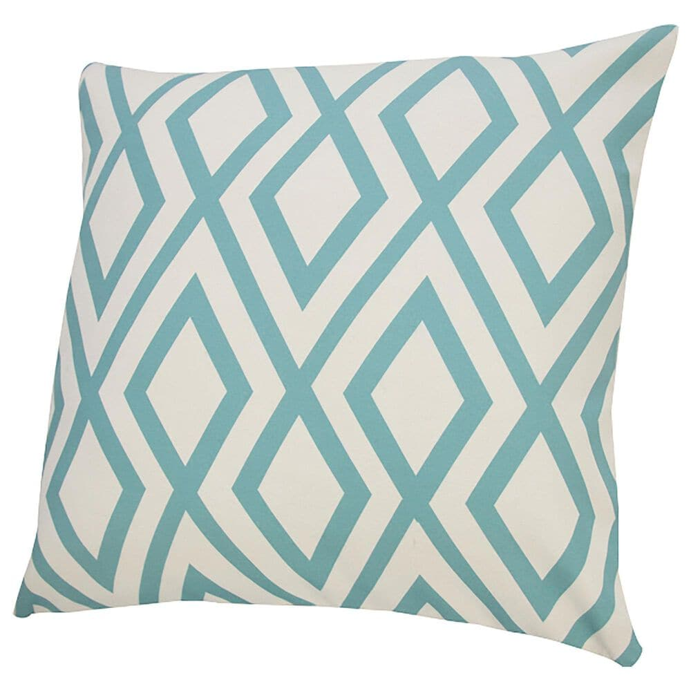 """L.R. RESOURCES 20"""" x 20"""" Diamond Outdoor Pillow in White and Teal, , large"""