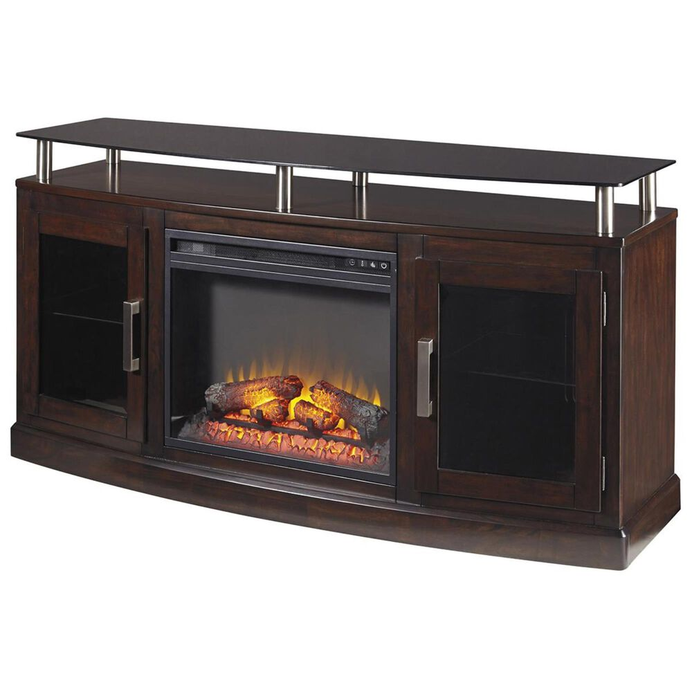 Signature Design by Ashley Chanceen Medium TV Stand and Fireplace Insert in Dark Brown, , large