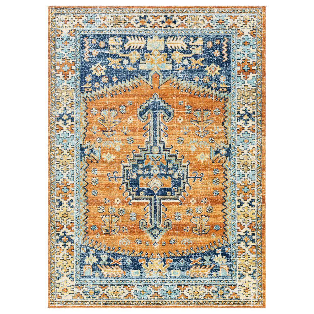 "Surya Bodrum 5""3"" x 7""3"" Ivory, Orange, Saffron, Gray, Camel and Blue Area Rug, , large"