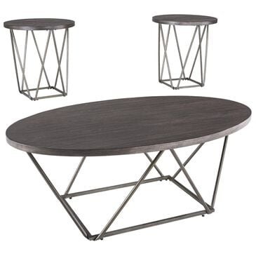 Signature Design by Ashley Neimhurst 3-Piece Occasional Table Set in Dark Brown, , large