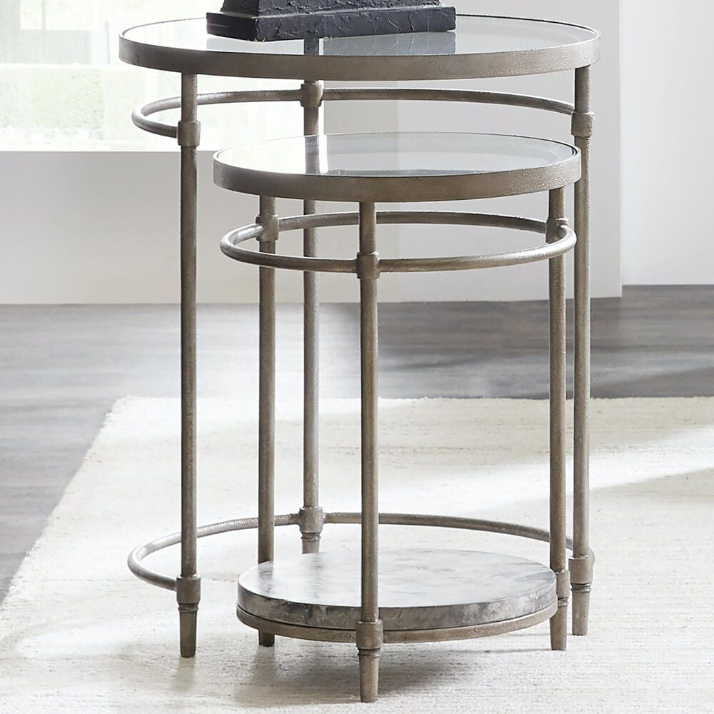 Hooker Furniture 2-Piece Round Nesting Table Set in Silver, , large