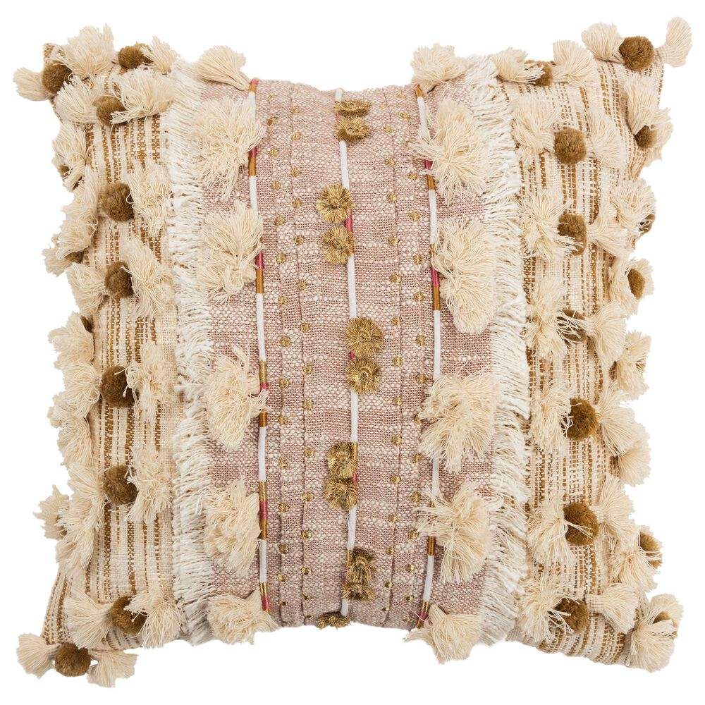 """Rizzy Home Abstract 20"""" Down Filled Pillow in Natural, , large"""