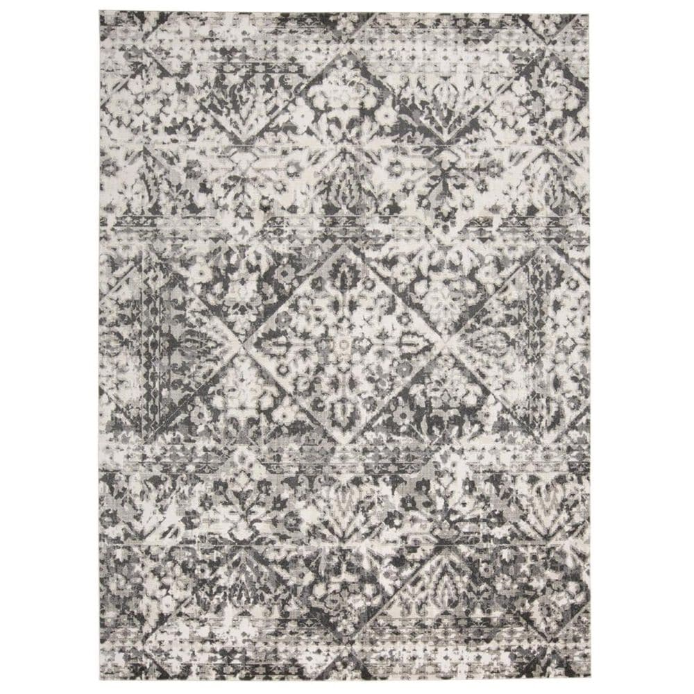 """Feizy Rugs Kano 3876F 2""""7"""" x 8"""" Charcoal and Ivory Runner, , large"""