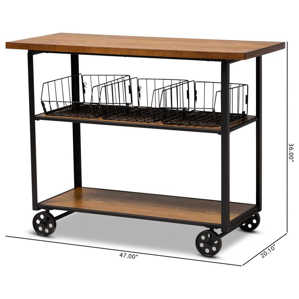 Baxton Studio Felix Console Cart in Walnut Brown, , large
