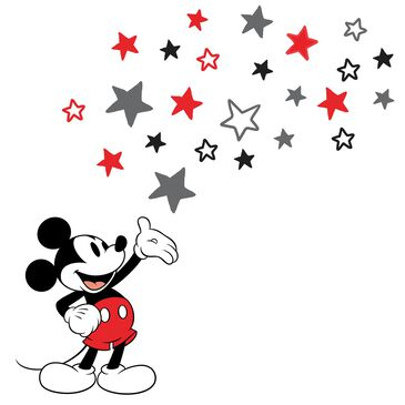 Lambs and Ivy Disney Baby Magical Mickey Mouse Wall Decal in Black, Red, Gray and White, , large
