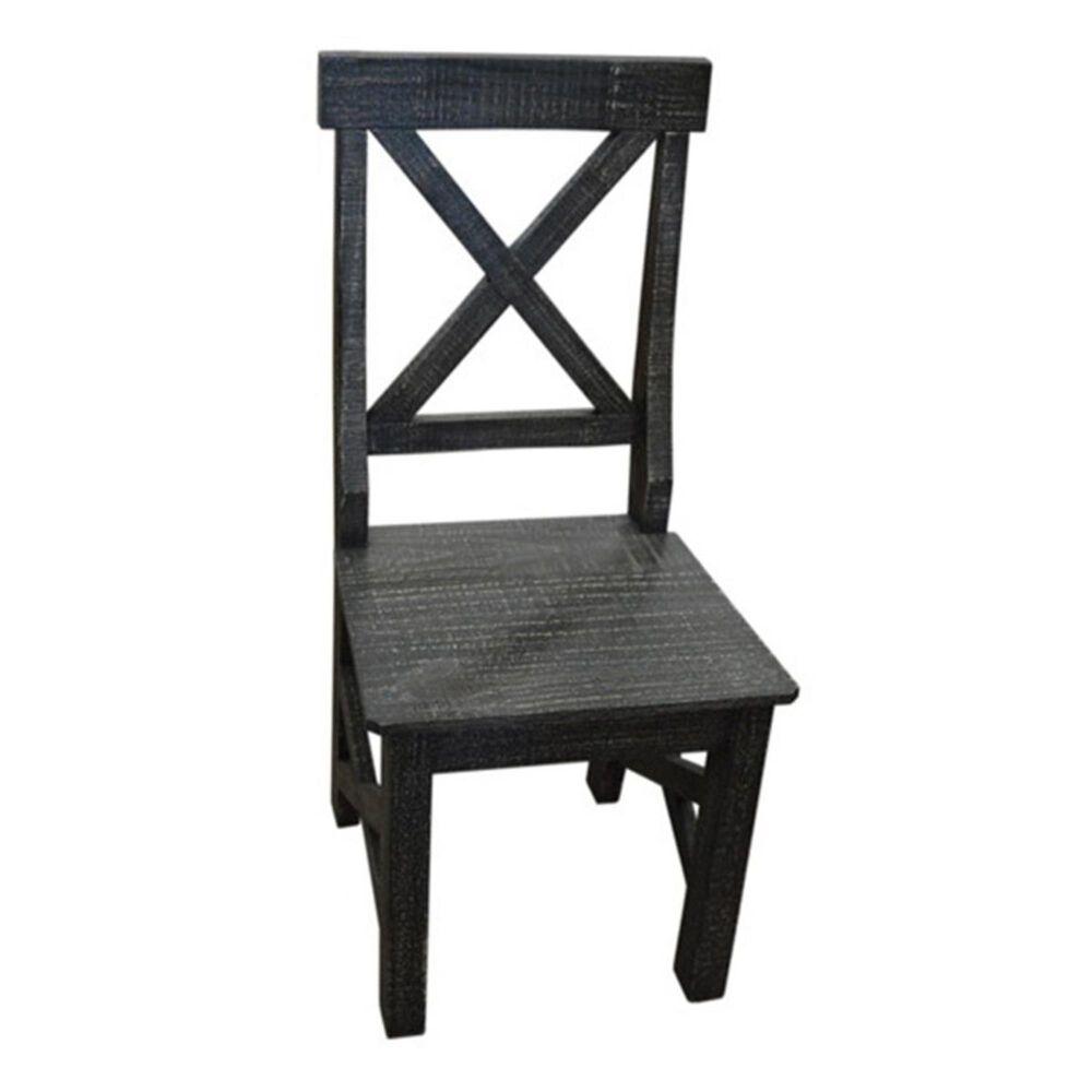 Santa Fe Rustic Roman Chair in Distressed Dark Wood, , large