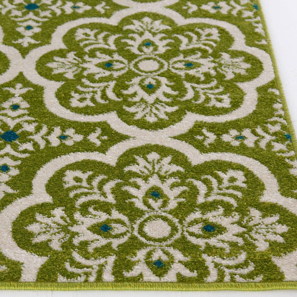 """Central Oriental Terrace Tropic Contoy 2301FN.084 5' x 7'3"""" Green and Snow Area Rug, , large"""