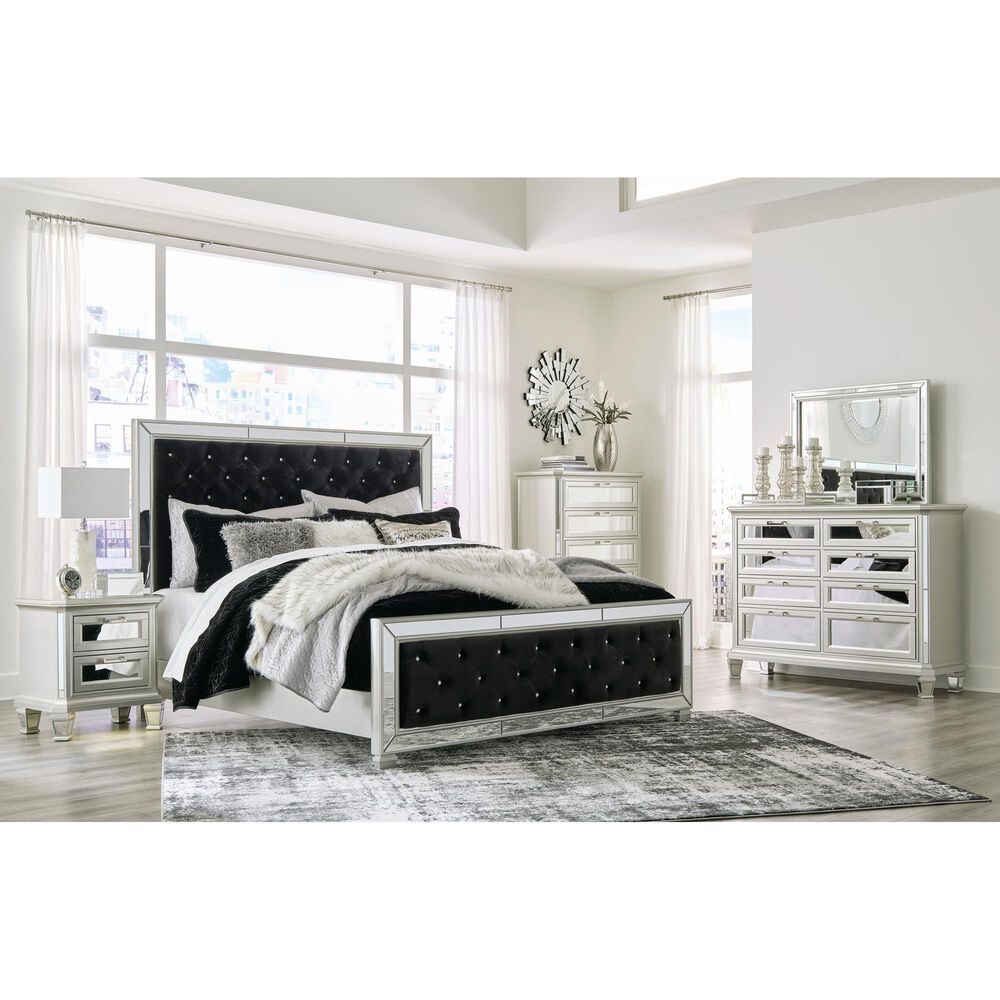 Signature Design by Ashley Lindenfield Queen Upholstered Bed in Black, , large