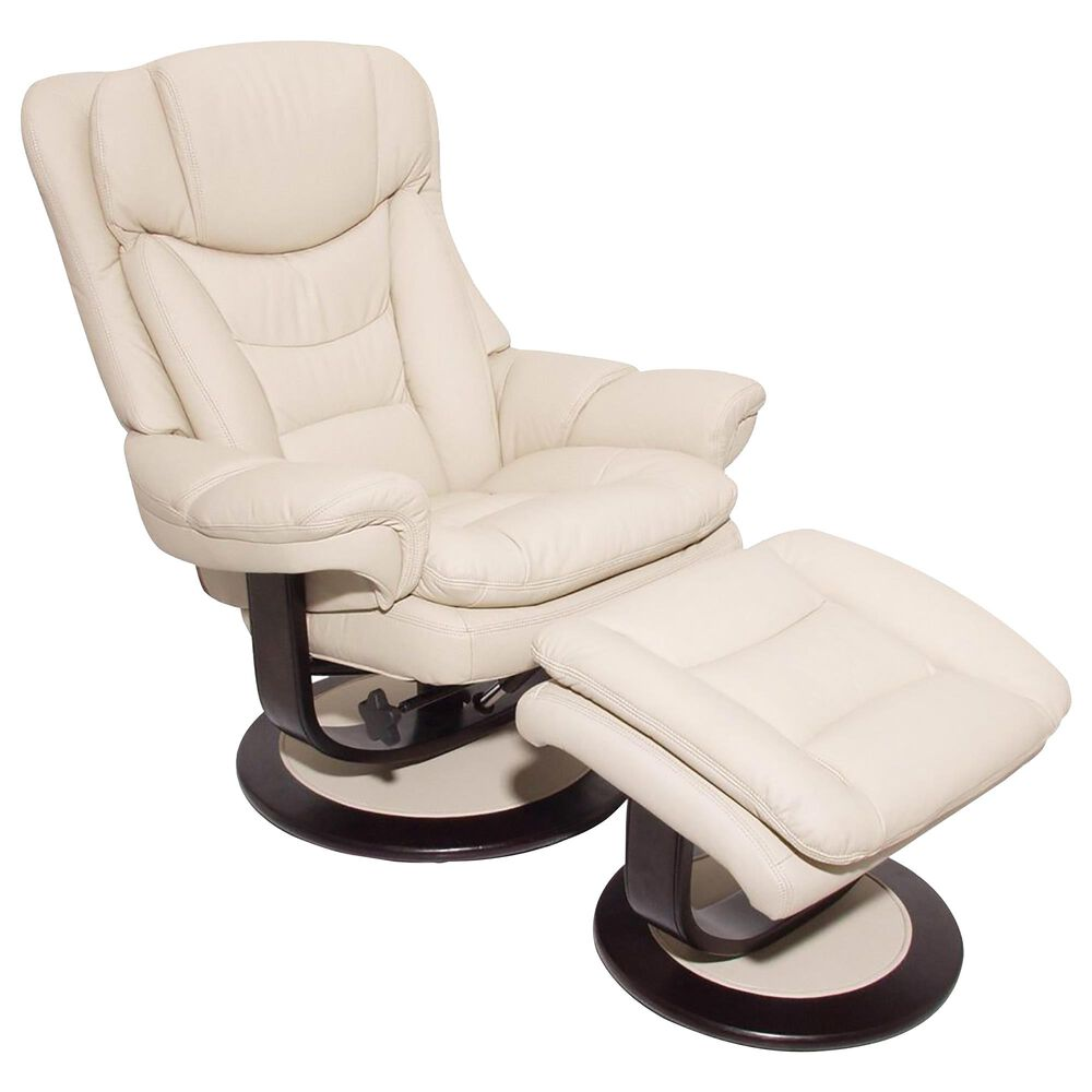 Barcalounger Roscoe Leather Pedestal Recliner and Ottoman in Frampton Ivory, , large