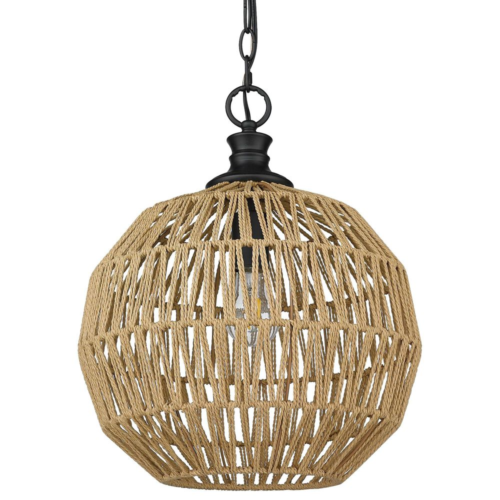 Golden Lighting Florence Mini Pendant with Natural Rope in Matte Black, , large