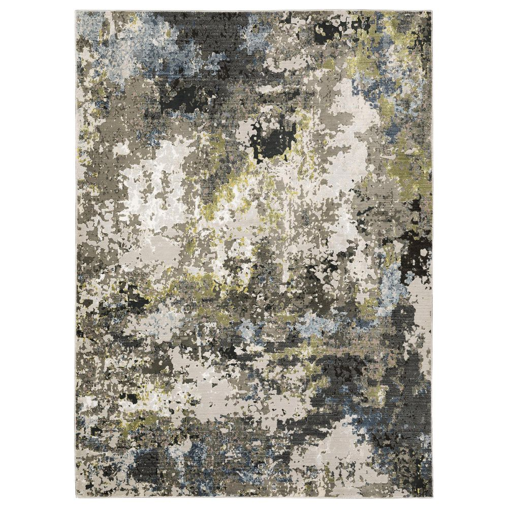 "Oriental Weavers Caravan Abstract Painted 9'10"" x 12'10"" Grey and Green Area Rug, , large"