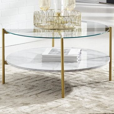 Signature Design by Ashley Wynora Round Cocktail Table in White and Gold, , large