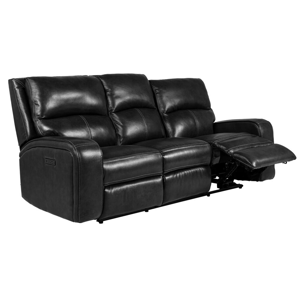 Oxford Furniture Leather Power Reclining Sofa with Power Headrest in Pewter, , large