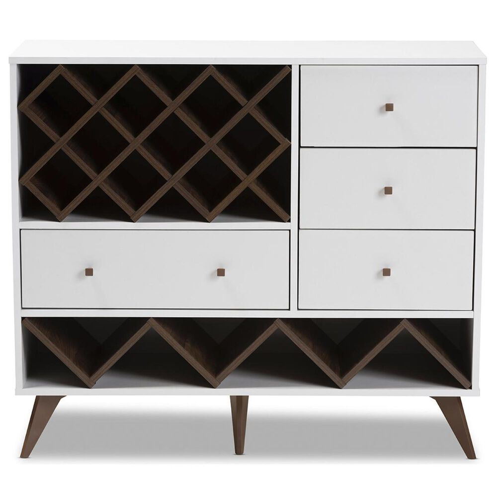 Baxton Studio Savino Wine Cabinet in White/Walnut Brown, , large
