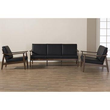 Baxton Studio Venza 3-Piece Living Room Set in Black, , large
