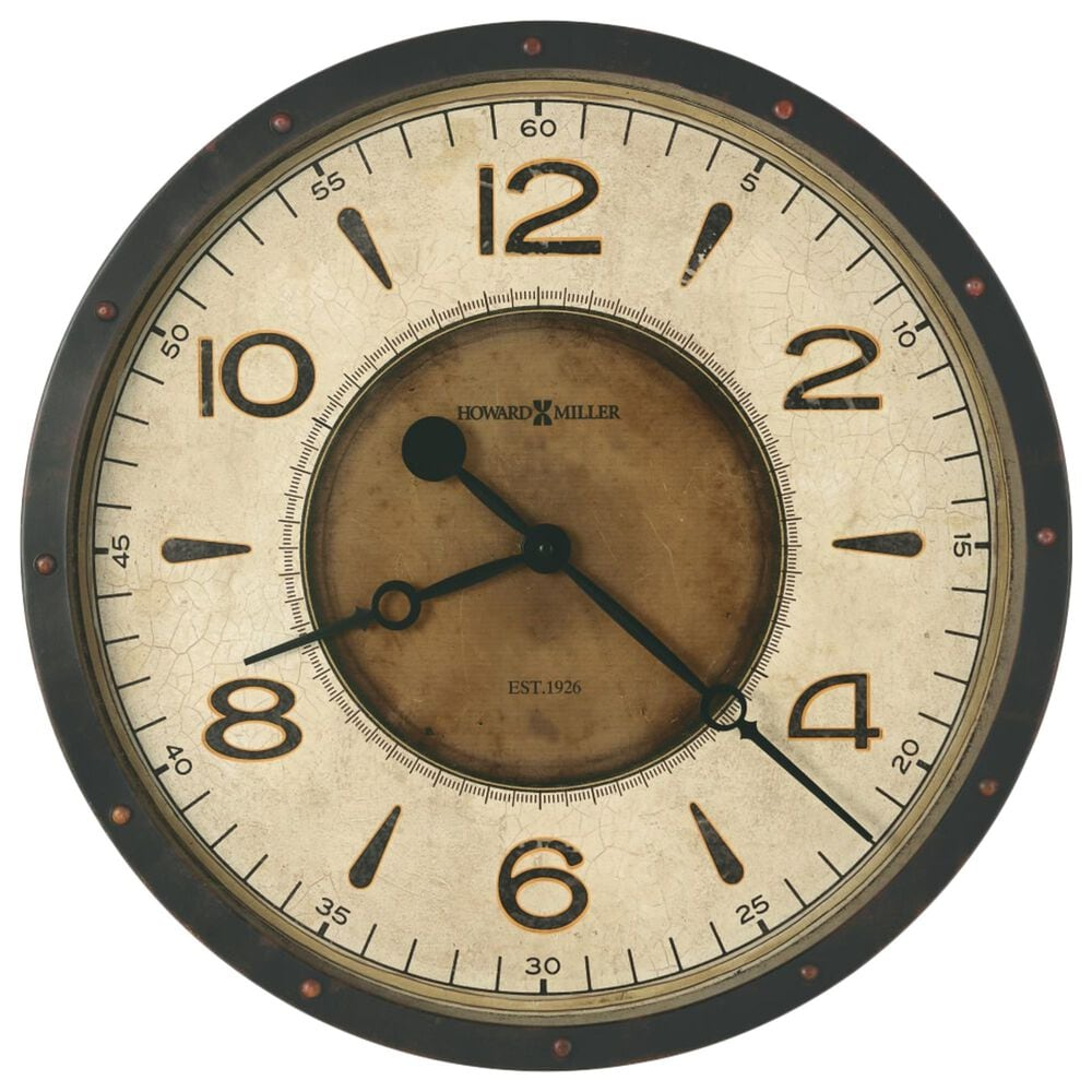 Howard Miller Kayden Oversized Wall Clock in Black and Brown, , large
