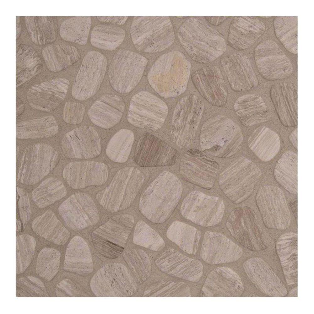 "MS International Pebbles White Oak 12"" x 12"" Natural Stone Mosaic Sheet, , large"