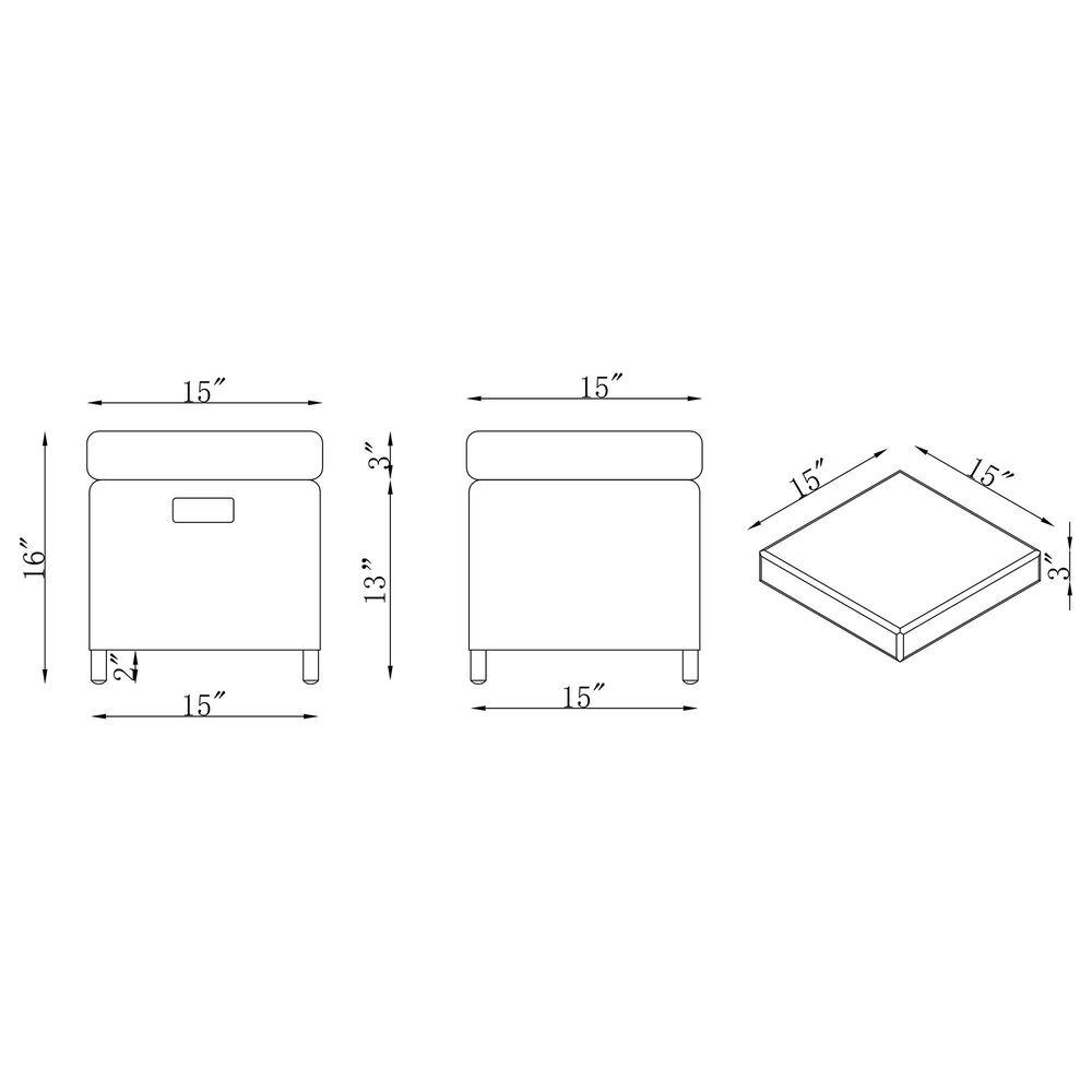 "Bolton Furniture Asti 15"" Patio Ottoman in Gray (Set of 2), , large"