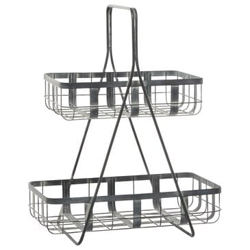 """Maple and Jade 23"""" Farmhouse Metal Storage Basket in Grey, , large"""