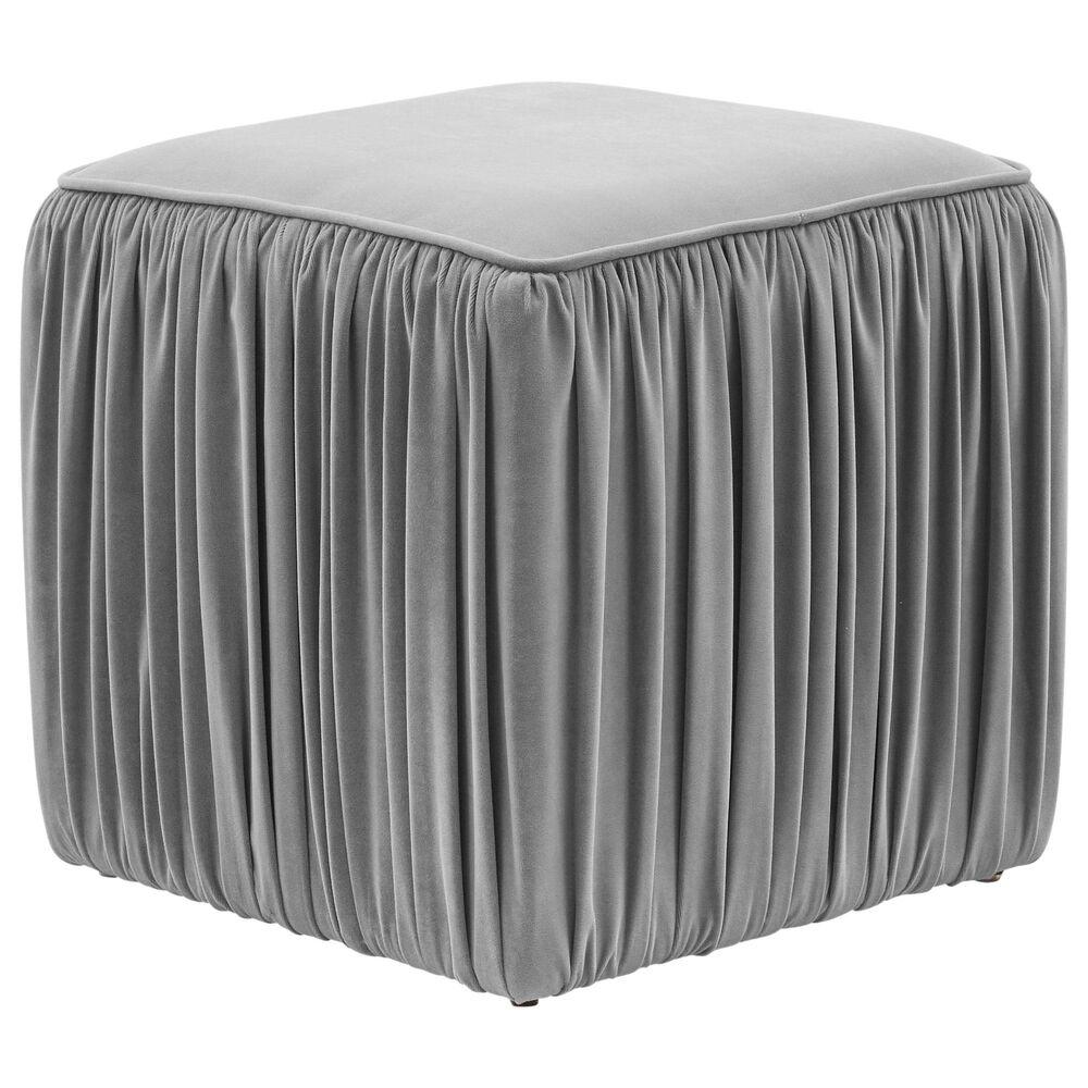 Tov Furniture Morgan Ottoman in Slate Velvet, , large