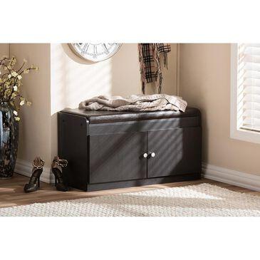 Baxton Studio 2-Door Shoe Cabinet with Seating Bench in Dark Brown, , large