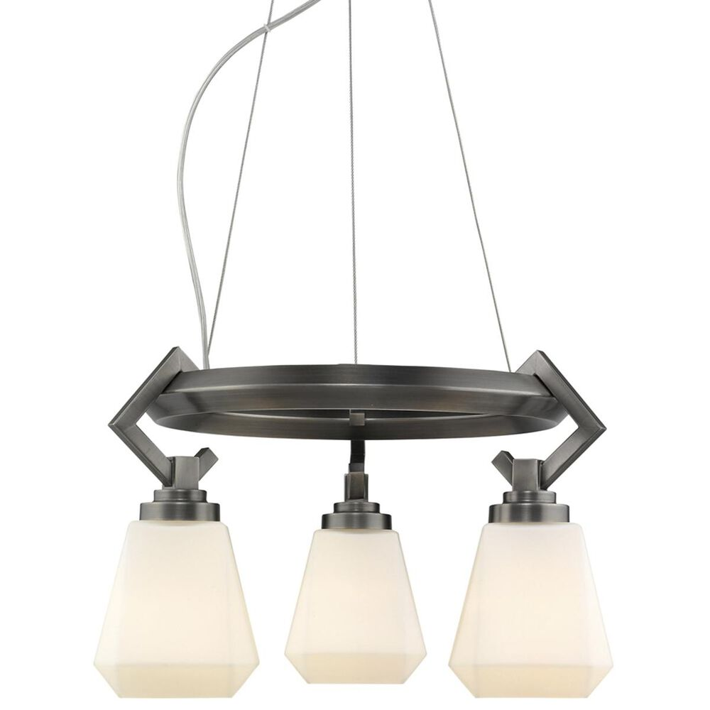 Golden Lighting Hollis 3-Light Chandelier in Aged Steel with Opal Glass, , large