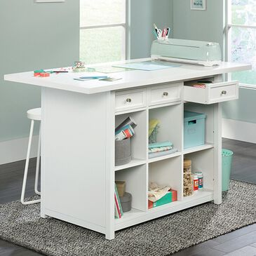 Sauder Craft Pro Work Table in Laminate White, , large