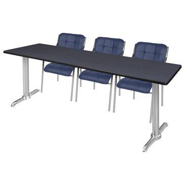 Regency Global Sourcing Via 4-Piece Training Table Set in Grey/Navy, , large